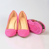 Wholesale LICSE Womens Italian Shoe Bag Butterfly Pink Bride Handmade cm High heeled Platform Pumps Women Elegant Shoes and Bags Set