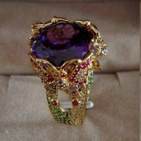 Wholesale Qi Xuan_Fine Jewelry_Luxury Natural Amethyst Butterfly Brand Rings_S925 Silver Plated In K Gold Rings_Factory Directly Sales