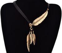 Collier avec pendentif Motif Feather Rope Chain Noir Fashion Style Bohemian Femmes Beaux Collares Bijoux Déclaration Collier WJIA015