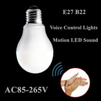 Wholesale Powerful V V E27 B22 W W W motion LED Sound and Light Control Sensor Induction Lamp Voice Control Lights