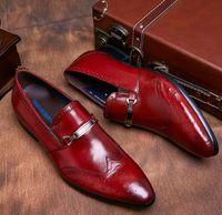 leather shoes italian men - GRIMENTIN Vintage Style Luxury Italian Men Shoes Sotrich Sytle Genuine Leather Men Shoes Blue black Mens Fcasual Shoe