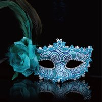 animal masks fancy dress - 2016 new sexy mask eye mask feather decorated for masquerade party fancy dress costume four colors