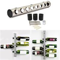 Revisiones Bastidores de almacenamiento de vino-1 Set creativo 8/12 agujeros titular de la barra de vino Inicio barra de la pared de la uva botella de vino Display Stand Rack Suspensión Organizador de almacenamiento