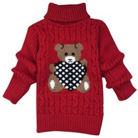 bear jumper - New Cute Baby Girl Sweaters Turtleneck Knitting Cute Bear Sweaters Long Sleeve Pullover Thick Warm Tops Children Clothing for Y
