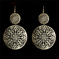amazing brass - New Sale k Gold Plated Amazing Double Circles Shape Fine Dangle Earrings For Women Lady