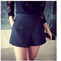 high waisted shorts - 2016052409 New Fashion Europe and Joker dark Plaid shorts high waisted shorts Korean Casual women Jeans Shorts crochet shorts