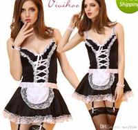 Wholesale Plus Size L XL XXL Maid Cosplay Costumes women Sexy Lingerie Black White French Apron Maid Servant Lolita Costume Dress Uniform