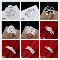 Wholesale Hot sale women s sterling silver rings pieces Multi Styles DFMR49 high grade fashion gemstone silver ring mix order