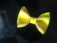 Wholesale 2016 yellow softball baseball basketball flowers bows hair