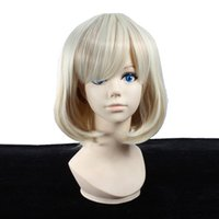 Wholesale Women s Short Straight Platinum Blonde Mix Brown Heat Resistant Synthetic Hair Harajuku Style Wig YSW17 wigs for cheap