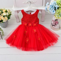 baby silk quality - Baby Kids Clothing Girls Dresses wedding high quality princess Ball Gown pink Lace Hook bud silk flower girl Tulle white pageant dress