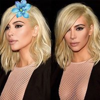 Wholesale 8A Short Straight Human Hair Full Lace Bob Wigs With Side Bangs Blonde Brazilian Hair Glueless Front Lace Wigs With Baby Hair