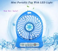 Wholesale Mini Protable Fan Multifunctional USB Rechargerable Kids Table Fan LED Light Battery Adjustable Speed F95B Multi Color Free DHL