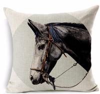 horse decor - Black horse saddle pillows emoji euro case home decor pillow environment enhance gift cartoon memory decorations