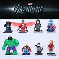 Wholesale 8pcs Marvel The Avengers Iron Man Black Widow Hulk Thor Super Heroes Building Bricks Blocks Sets Minifigures Learning Toys Children Gift
