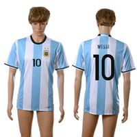 Wholesale Cheap Argentina Football Jerseys - 16-17 Argentina #10 MESSI Home Jersey Top Thai Quality Soccer Jerseys Cheap Men's Soccer Shirts New Season Custom Football Jerseys for Sale
