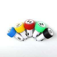 Wholesale 2016 the new double tire usb car charger color car charger in one car iPhone samsung Galaxy smartphone gm