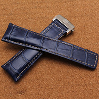 Wholesale New Fashion Polished Durable folding buckle deployment watch bands handmade Blue Leather strap mm mm mm Watch Strap Watch accessories