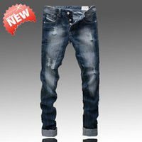 ads designer - Famous Brand Fashion Designer Jeans Men Straight Blue Color Printed Mens Jeans Ripped Jeans Cotton AD Brand Robin Jeans