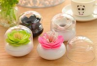 Wholesale With Lid Lotus Cotton swab box lotus cotton bud holder base room decorate Lotus Toothpicks holder Toothpick case