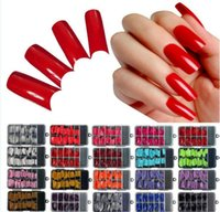 Wholesale 50lot pc Acrylic French False Nail Tips Colored False Nail Tip Nail Strips Decals Mix Color