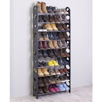 Wholesale Useful Layers Plastic Shoe Rack with Metal Tube in Black Color One Piece