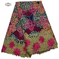 Wholesale Beautiful African Wax Print Lace Fabric With Yards New Ankara Kace Design For Fashion Dresses