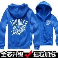 american basketball jackets - American basketball clothes thunder Durant fleece Fleece Hoodie Jacket with zipper Hoodies Sweatshirts