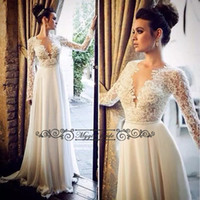 Cheap Beach WEdding Dresses With Long Sleeves Sexy Sheer Chiffon WEdding Gowns 2016 Bridal Dress Boho Wedding dress Cheap