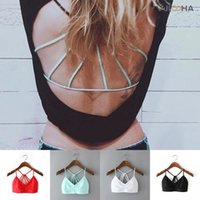 Wholesale 2016 Fashion Women Sexy Bralet Strappy Bra White Pure Color Backless Short Tanks Brand Fitness Bustier Crop Tops Beach CV60