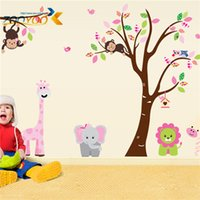 american monkey - 100pcs ZY216 D Sticker Zoo monkey lion elephant cartoon animal wall stickers for kids rooms removable pvc wall decals home decoration