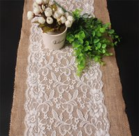 Wholesale New cm cm Vintage Burlap Lace Hessian Table Runner Natural Jute Country Party Wedding Chirstmas Adornment Decoration DCBH36