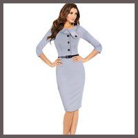 belts outlet - Factory Outlet Newest Women Half Sleeve Wear to Work Button Zipper Pencil Dress Knee Length Party Bodycon Dresses With Belt Plus Size S XXL
