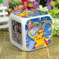 Wholesale 3D cartoon Poke Pikachu Digimon LED Colorful Changed Digital desk table alarm Clock Night Light For Kids Birthday Xmas Gifts types FREE