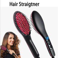Wholesale Hot selling DIY Hair Straightener Brush Ceramic Electric Degital Control Hair Straightening brush detangling brush with retail package