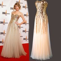 Cheap Taylor sexy strapless sequined gold prom dress,2016 a line sweetheart tulle elie saab floor length evening dress