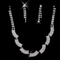 Wholesale In Stock New Earrings Necklace Jewelry Sets Cheap Fashionable Women Elegant Rhinestone Shining Evening Prom Occasion Accessories