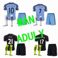 Wholesale thai quality Manchesteri city man s kits with socks soccer Jerseys Home away KUN AGUERO DE BRUYNE STERLING SILVA football shirt