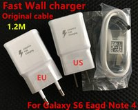 Wholesale High quality original Fast V A US EU Plug Wall Charger adapter m Micro USB Data Cable For Samsung Galaxy S7 S6 Edge S4 Note N7100