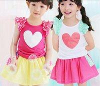 Wholesale 16 new summer suit for children love Korean girls cotton skirt suit children burst stylish children s clothing