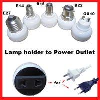 Wholesale E14 E27 B22 GU10 base lamp holder convert to AC Power supply socket plug outlet adapter EU or US