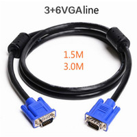 Wholesale 3 VGA Cable VGA Male To VGA Male double ring Extension for Monitor HDTV PC Projector Extender M M M