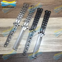 Wholesale Silver Practice Butterfly Knife Trainer Training Folding Knife Dull Tool Outdoor Camping Knife Comb Pocket Knifes DHL