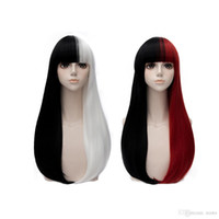 Wholesale Cosplay Lolita Wigs White - Rcoto Harajuku Wig Lolita Long Straight Hair with Black White Red Black Mixed ColorSynthetic Wigs Cosplay