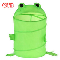 Wholesale Hot Sale Lovely Green Frog Pop up Collapsible Storage Bucket Toy Laundry Basket