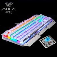 Wholesale AULA Reaper Metal mechanical keyboard backlit gaming keys black shaft green axis keys do not conflict feel comfortable USB