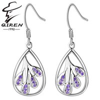 amethyst types - High quality sterling silver earrings natural crystal water type dangle earring Amethyst jewelry fashion earrings for women