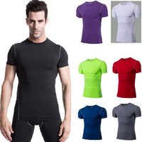 Wholesale Men T Shirts Runing Gym Clothing Sports and Fitness Basketball Training Tight Outdoor Short Sleeve T shirt Tank Tops