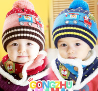 Wholesale 2017 New Baby Hats Autumn Winter Caps Kids Girls Boys Warm Woolen Knitted Coif Hood Scarf Beanies toddler christmas gifts m years old In