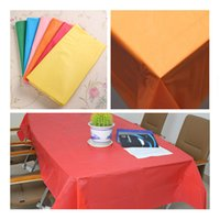 Wholesale Oblong Plastic Solid Tablecloths Rectangle Covers Birthday Weddings Party Baby Shower Decoration x138cm
